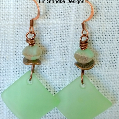 Soft green seaglass squares earrings
