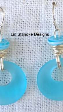 Tropical blue seaglass circle earrings