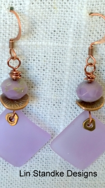Lilac seaglass earrings