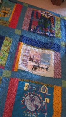 Quilt made from Special Olympics T-shirts